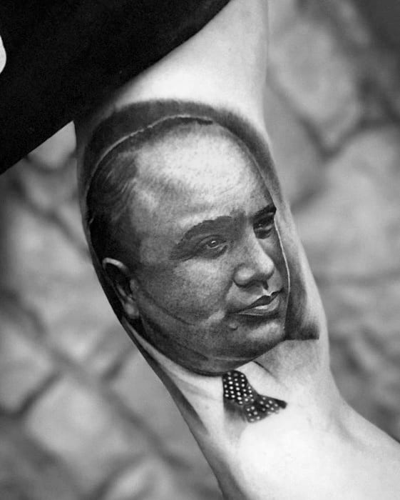 Masculine Inner Arm Bicep Al Capone Tattoos For Men