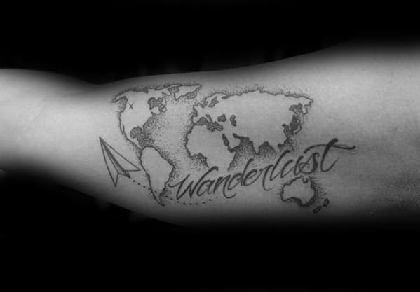 Masculine Inner Arm Bicep Wanderlust Map With Plane Tattoo