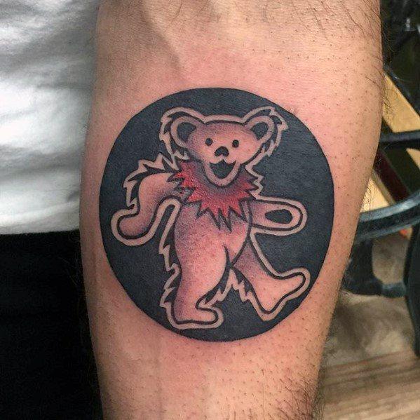 Masculine Inner Forearm Circle Grateful Dead Bear Tattoos For Men