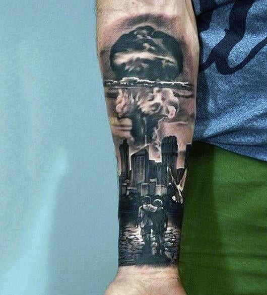 Masculine Inner Forearm City Skyline Mushroom Cloud Tattoos For Men
