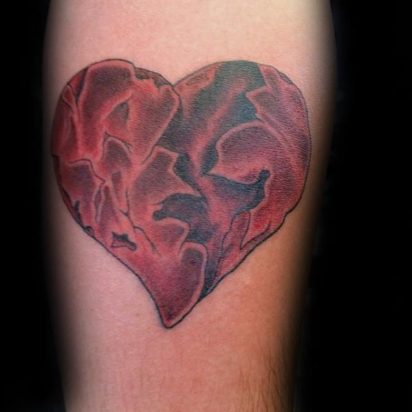 Masculine Inner Forearm Red Ink Broken Heart Tattoos For Men