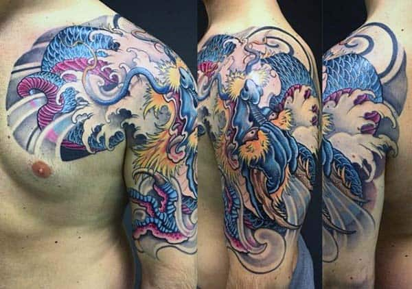 Masculine Japanese Dragon Male Arm And Chest Tattoos