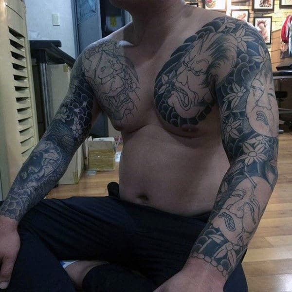 Masculine Japanese Men's Tattoo Sleeve