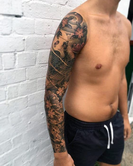 Masculine Japanese Phoenix Guys Sleeve Tattoo Ideas