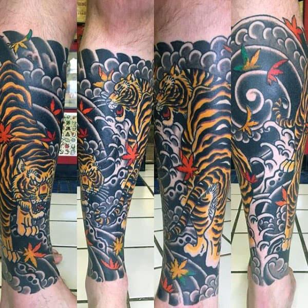 Masculine Japanese Tiger Leg Sleeve Mens Tattoos