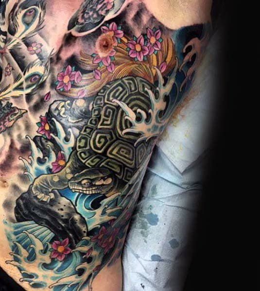 Masculine Japanese Turtle Tattoos For Men