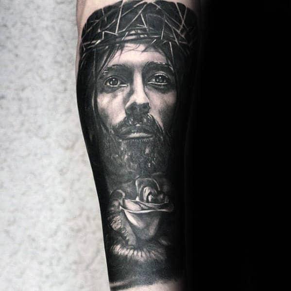 Masculine Jesus Rose Flower Male Forearm Sleeve Tattoo