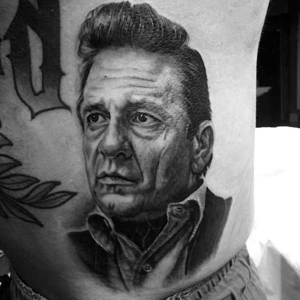 Masculine Johnny Cash Tattoos For Men On Rib Cage Side Of Body