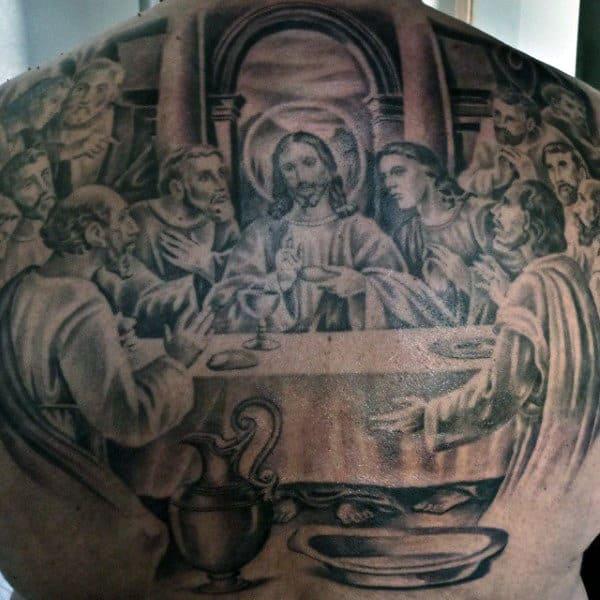 Masculine Last Supper Mens Full Back Tattoos Realistic