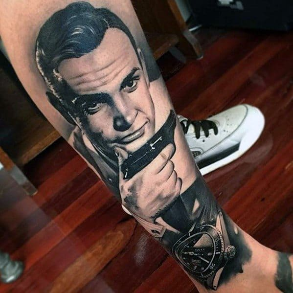 Masculine Leg 3d Realistic James Bond Tattoos For Men