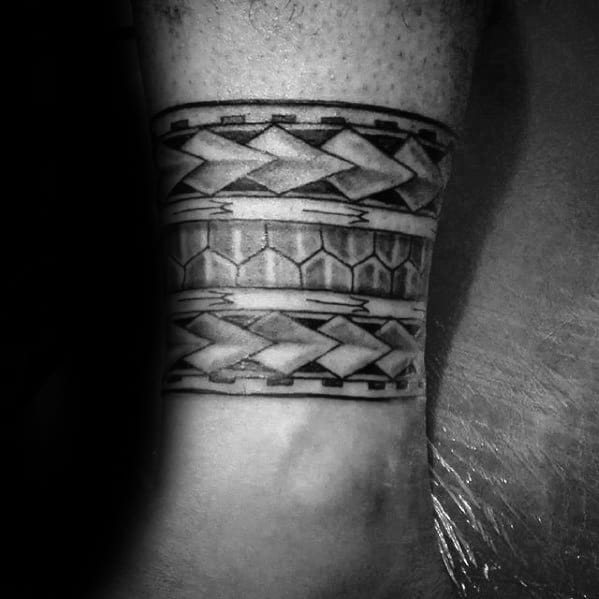 Masculine Leg Band Polynesian Tattoos For Gentlemen