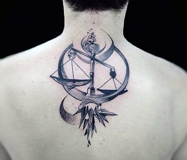 Masculine Libra Mens Abstract Upper Back Tattoos