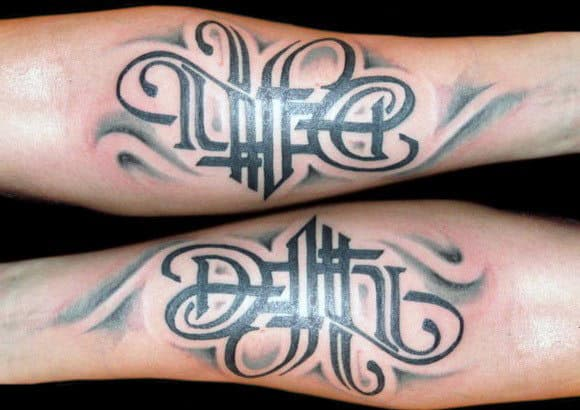 Masculine Life Death Ambigram Male Inner Forearm Tattoos
