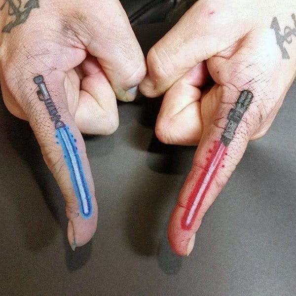Masculine Lightsaber Finger Tattoos For Guys