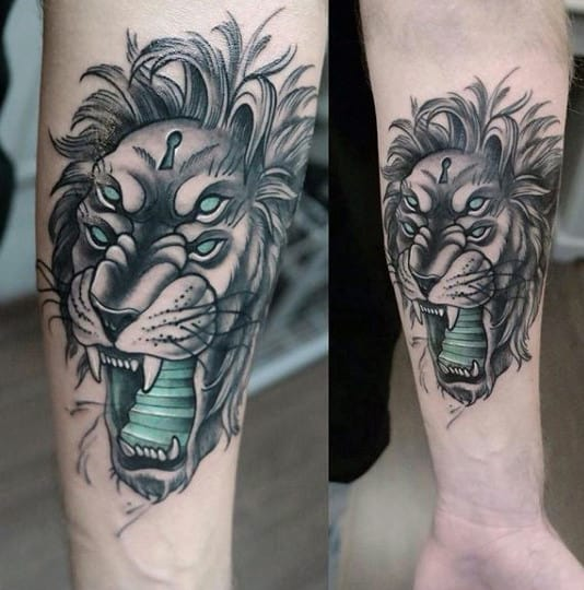 Masculine Lion Forearm Tattoos