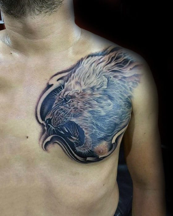 Masculine Lion Shoulder Tattoo Designs For Men