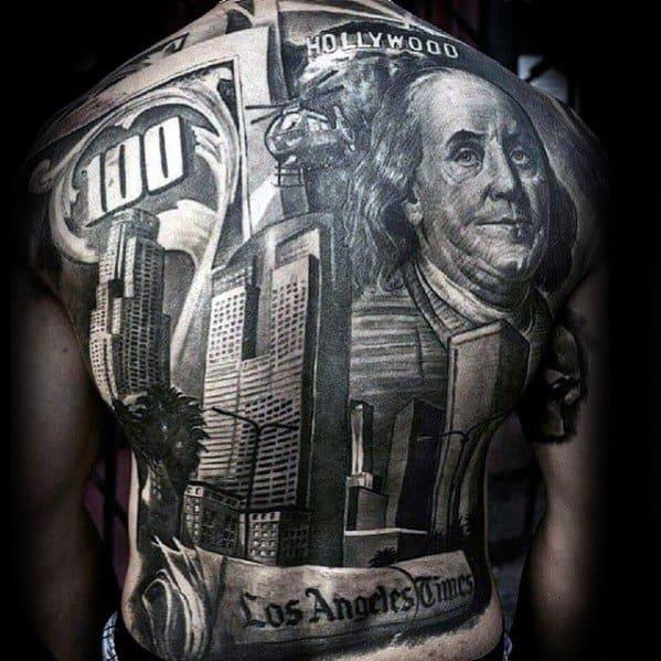 Masculine Los Angeles Skyline Tattoos For Men Full Back