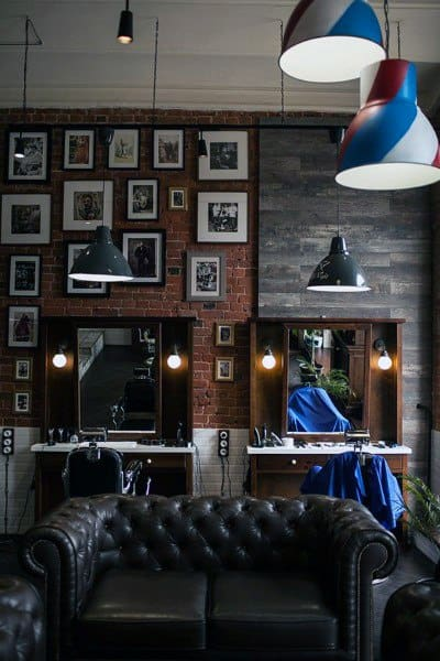 Masculine Lounge Barber Shop Designs