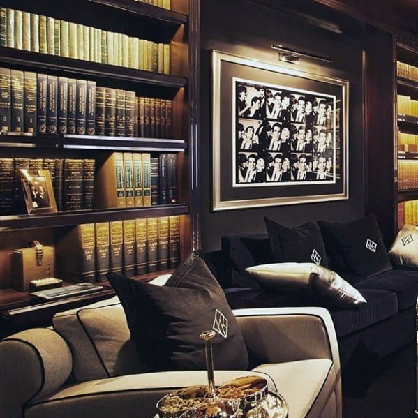 Masculine Lounge With Bookcase Cool Man Cave Ideas