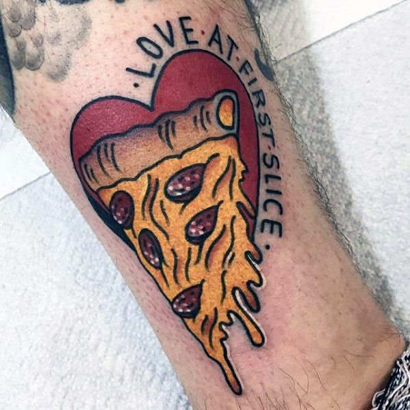 Masculine Love At First Slice Heart Pizza Tattoos For Men On Lower Leg