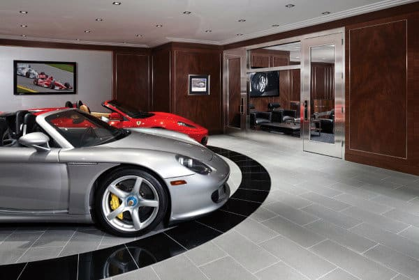 Masculine Luxury Garage Floor Stone Tiles