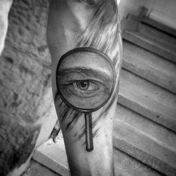 Masculine Magnifying Glass Tattoos For Men