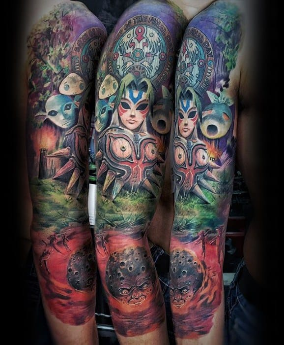 Masculine Majoras Mask The Legend Of Zelda Themed Tattoos For Men Full Arm Sleeve
