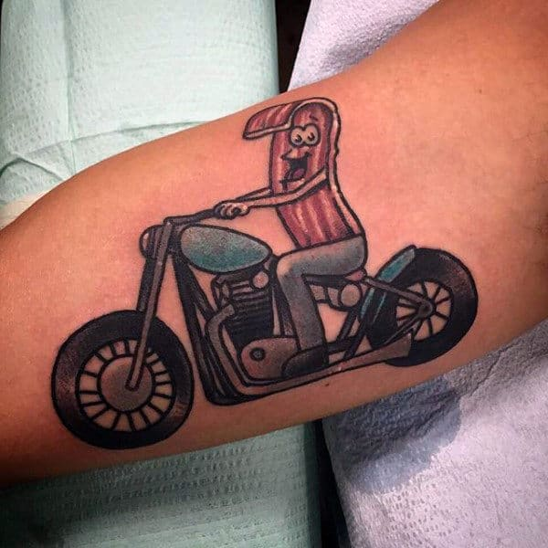 Masculine Male Forearms Happy Bacon Riding Bike Tattoos