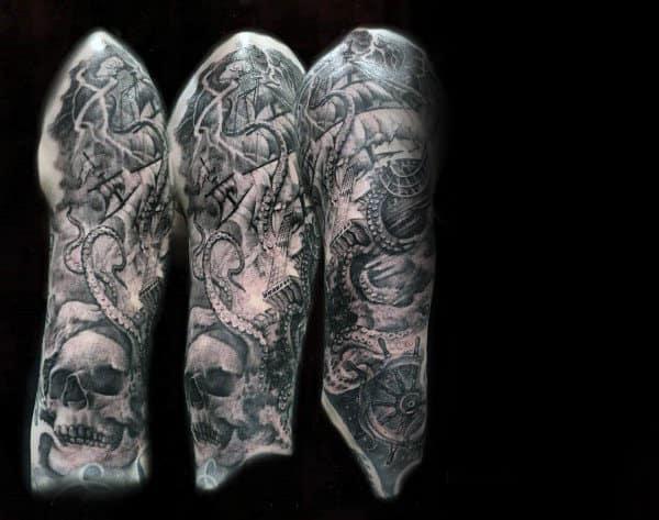Masculine Male Half Sleeve Kraken Skull Tattoo Ideas