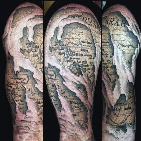 50 world map tattoo designs for men adventure the globe masculine male map tattoo ideas gumiabroncs Choice Image