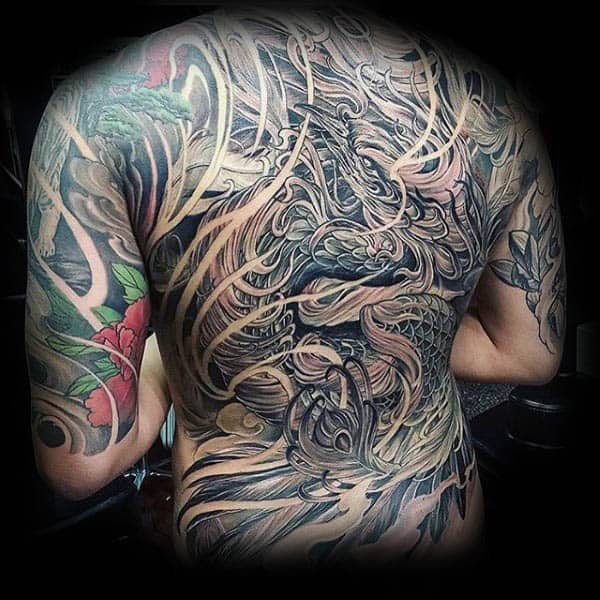 Masculine Male Phoenix Full Back Tattoo Inspiration