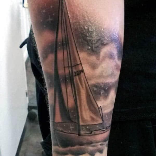 Masculine Male Sailboat Tattoo Design Ideas