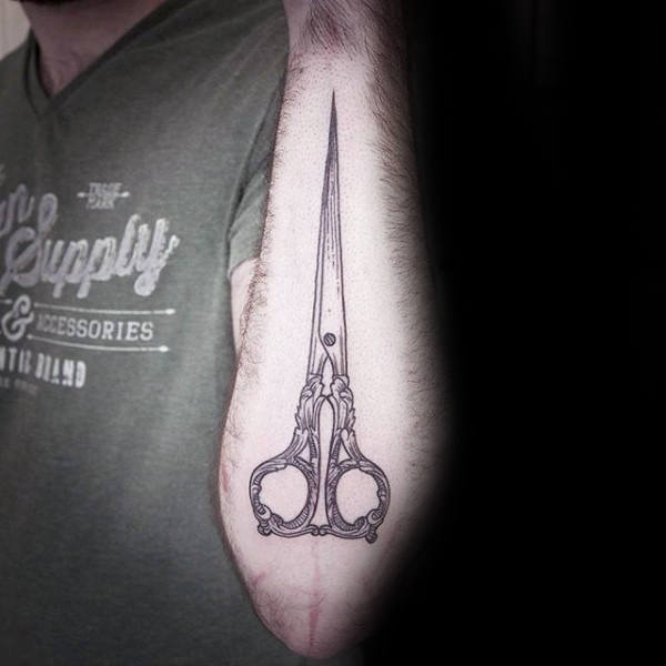 Masculine Male Scissor Outer Forearm Tattoos