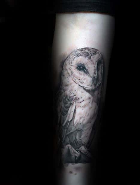 Masculine Male Tattoo Of Barn Owl On Forearms