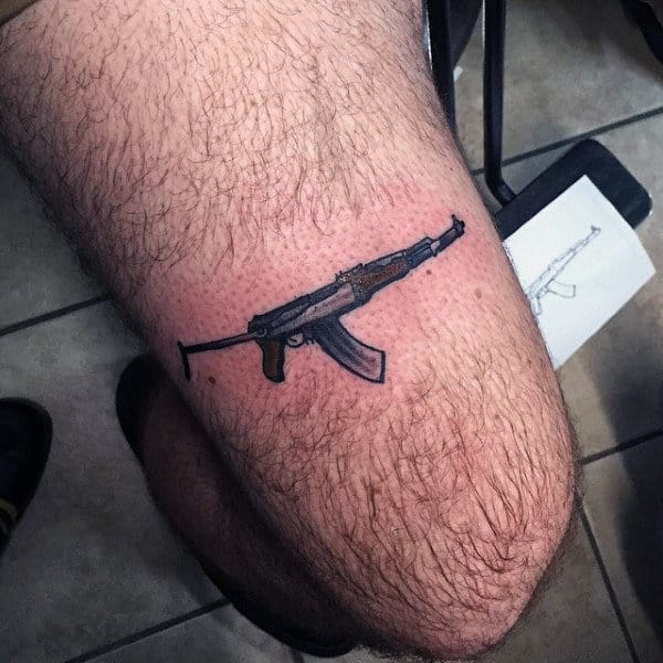 Masculine Male Thighs Small Ak 47 Tattoo