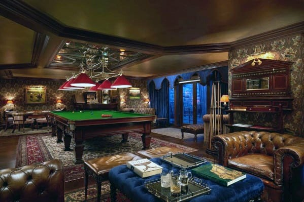 Masculine Man Cave Vintage Billiard Design Room