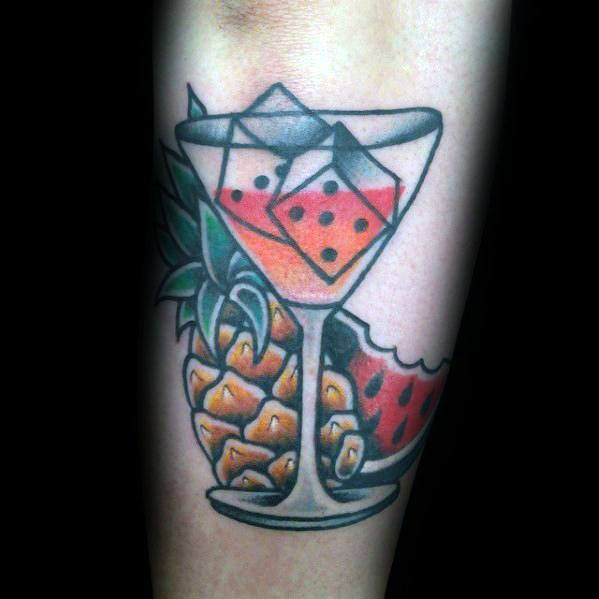 Masculine Martini Glass Tattoos For Men