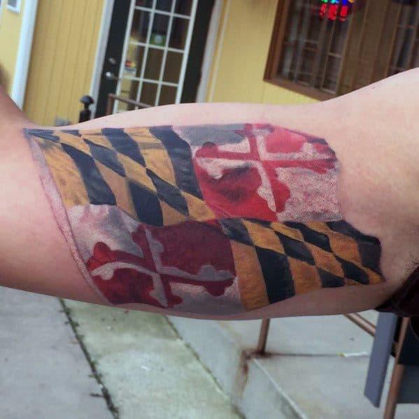 Masculine Maryland Flag Tattoos For Men