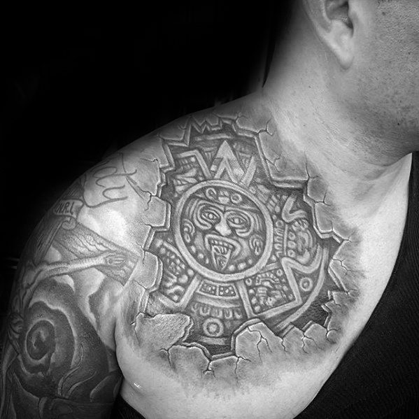 Masculine Mayan Calender Tattoos For Men Stone 3d Upper Chest