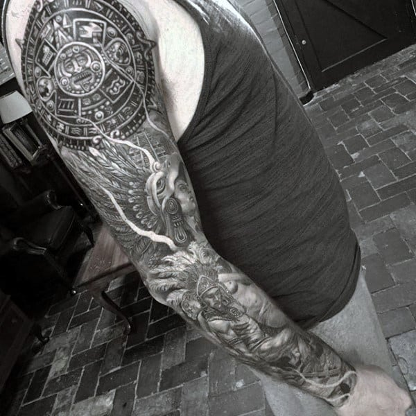 Masculine Mayan Guys Full Sleeve Tattoos
