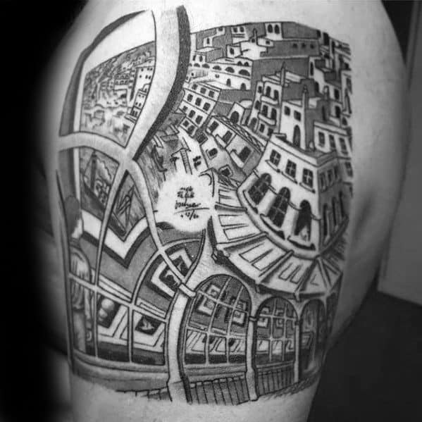 Masculine Mc Escher Tattoos For Men