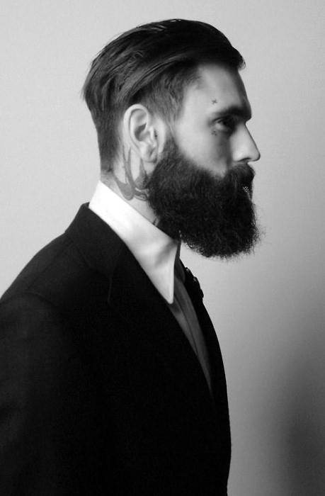Masculine Medium Straight Hair For Males With Beards