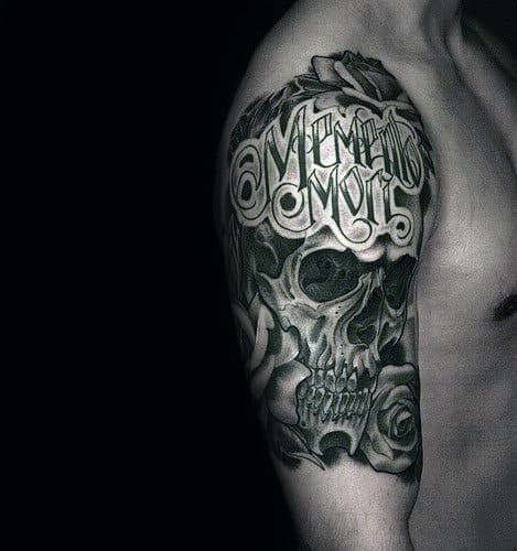 Masculine Memento Mori Mens Half Sleeve Skull Tattoo Ideas
