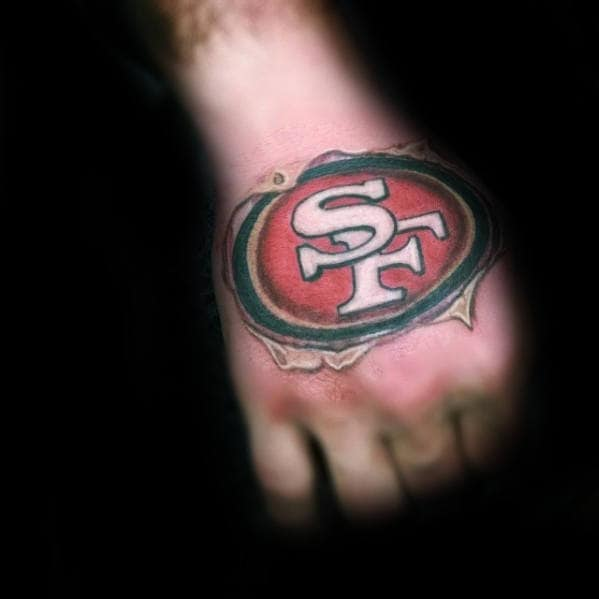 50 san francisco 49ers tattoos for men football design ideas masculine mens 3d hand san francisco 49ers tattoo voltagebd Choice Image
