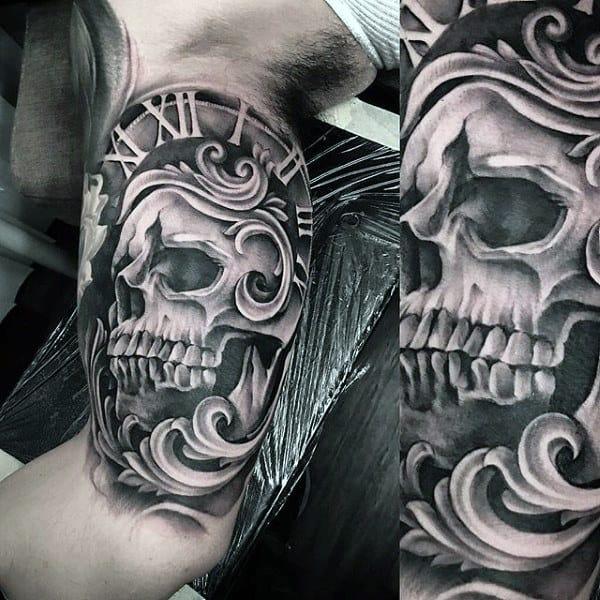 Masculine Mens 3d Skull Roman Numeral Clock Filigree Inner Arm Bicep Tattoo