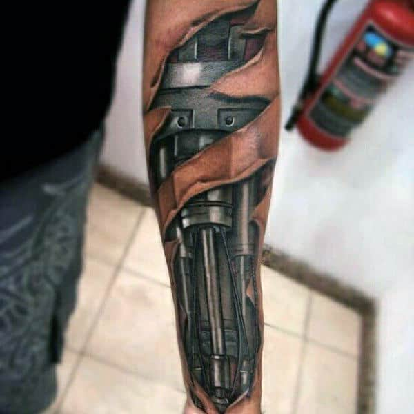Masculine Mens 3d Terminator Ripped Skin Mechanical Forearm Tattoo