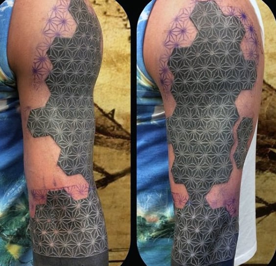 Masculine Mens 3d White Ink Sleeve Tattoo