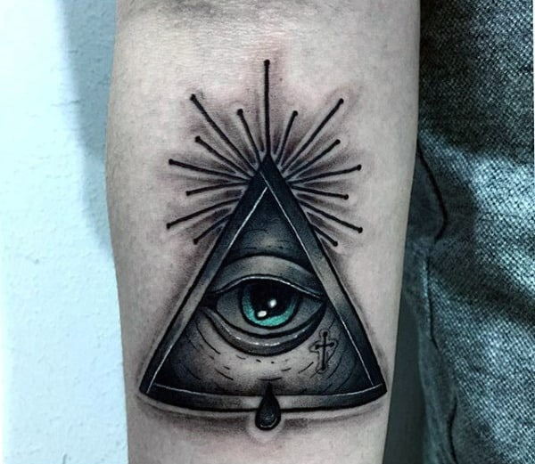 Masculine Mens All Seeing Eye 3d Pyramid Inner Forearm Tattoo