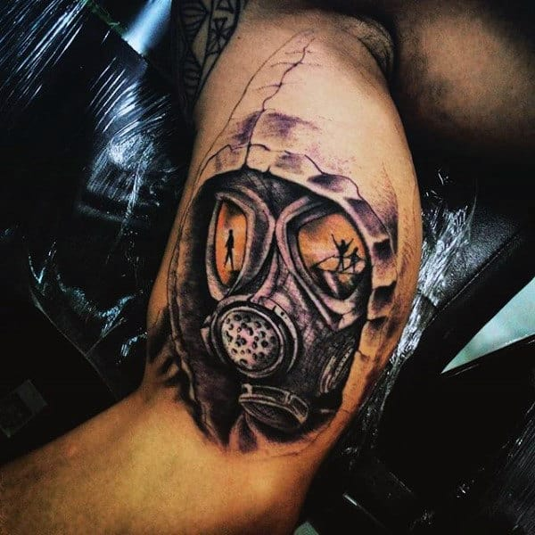 Masculine Men's Army Gas Mask Tattoo On Bicep