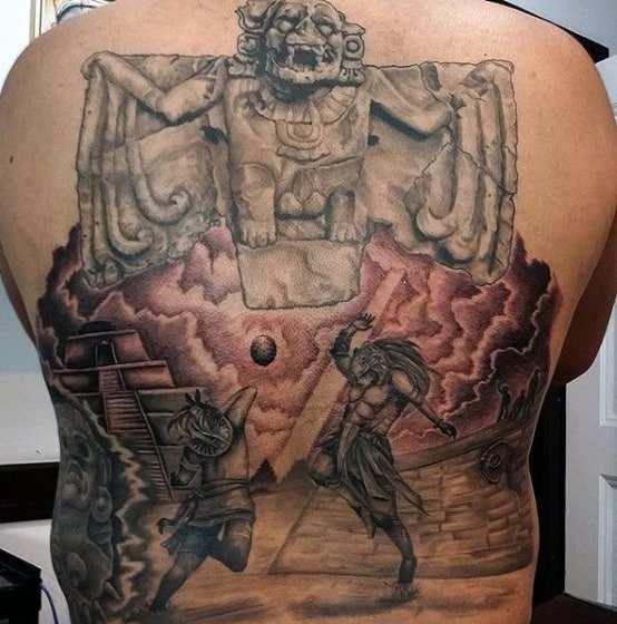 Masculine Men's Aztec Full Back Tattoos